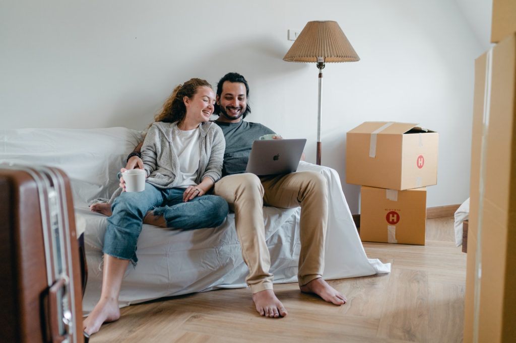 A couple who has just purchased a home